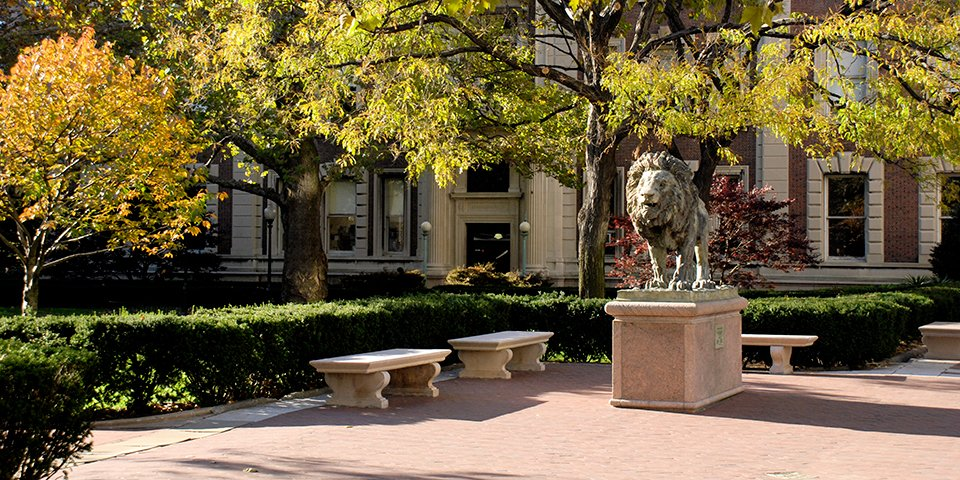 Columbia's lion sculpture