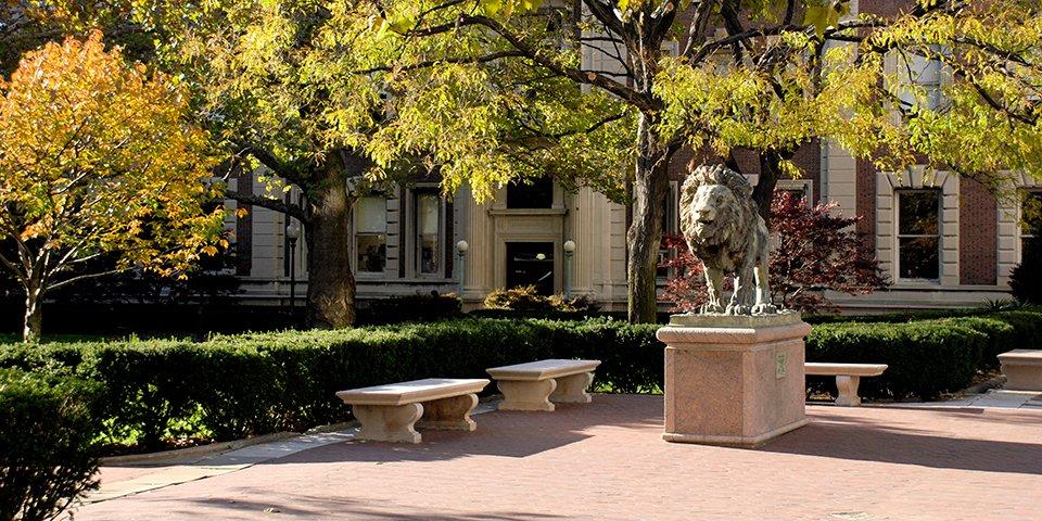 Columbia's lion sculpture